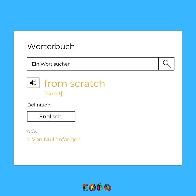 """Der Begriff Scratchkommt aus dem Englischen und bedeutet so viel wie """"zusammen kratzen"""". Im Bezug auf die Programmiersprache Scratch bedeutet es """"von Anfang an."""""""