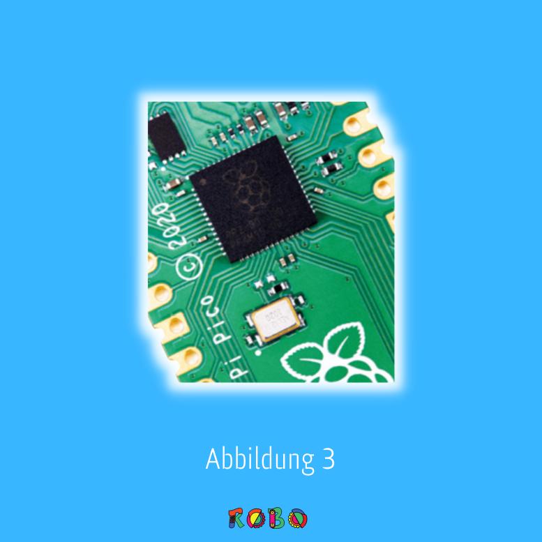 Der Chip in der Mitte deines Pico (Abbildung 1-3) ist ein RP2040-Mikrocontroller. Dies ist ein kundenspezifischer integrierter Schaltkreis (IC), der speziell von den Ingenieuren des Raspberry Pi entwickelt und gebaut wurde, um dein Pico und andere Mikrocontroller-basierte Geräte zu steuern.
